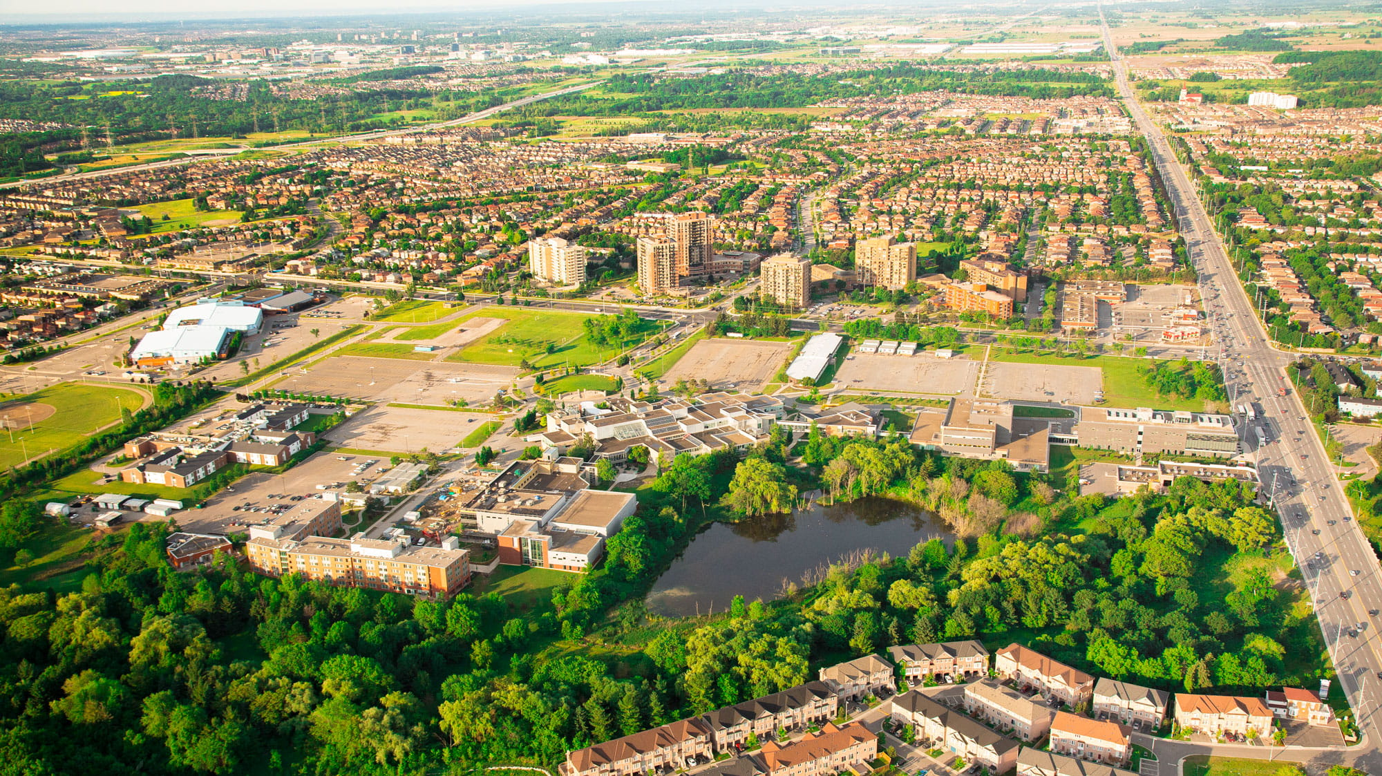 An aerial view of Brampton, Ontario.