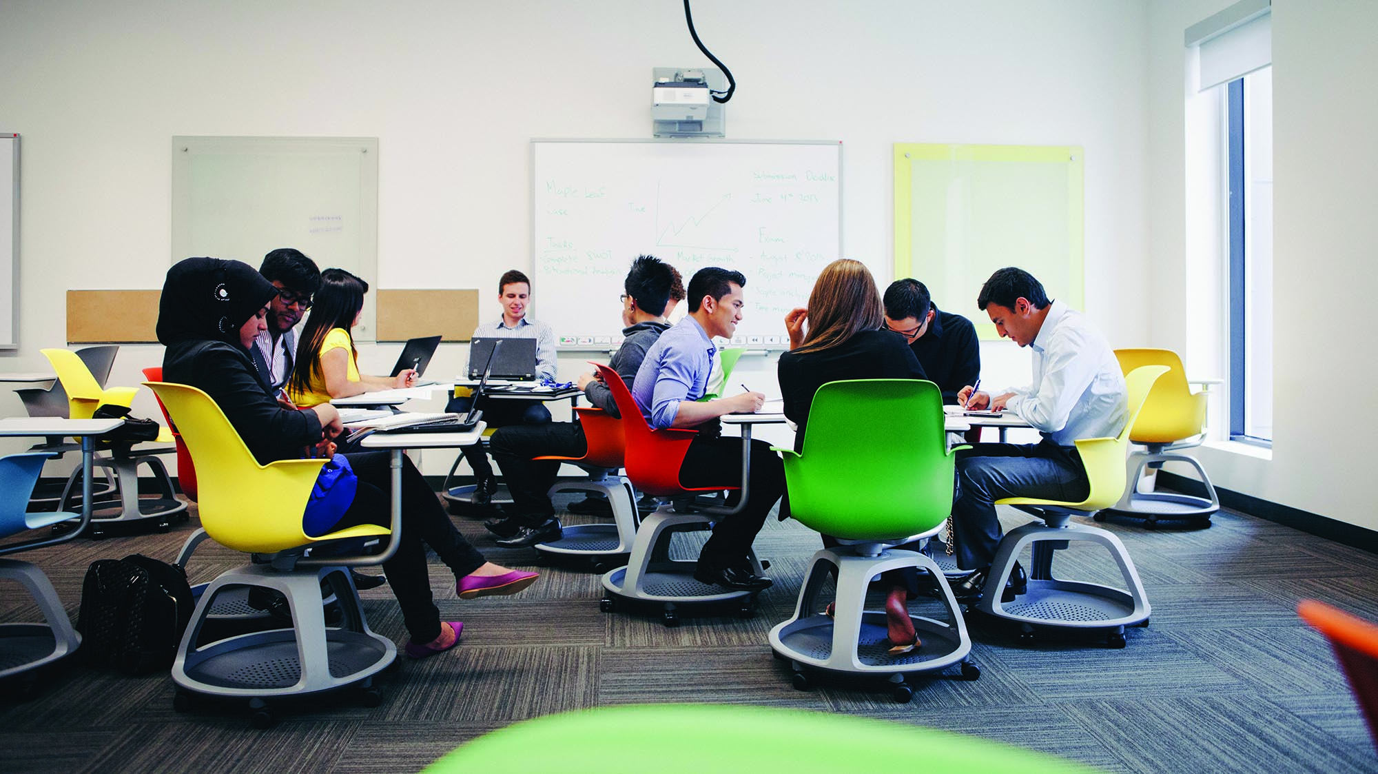 Students sitting on brightly coloured chairs in the Faculty Collaboratory
