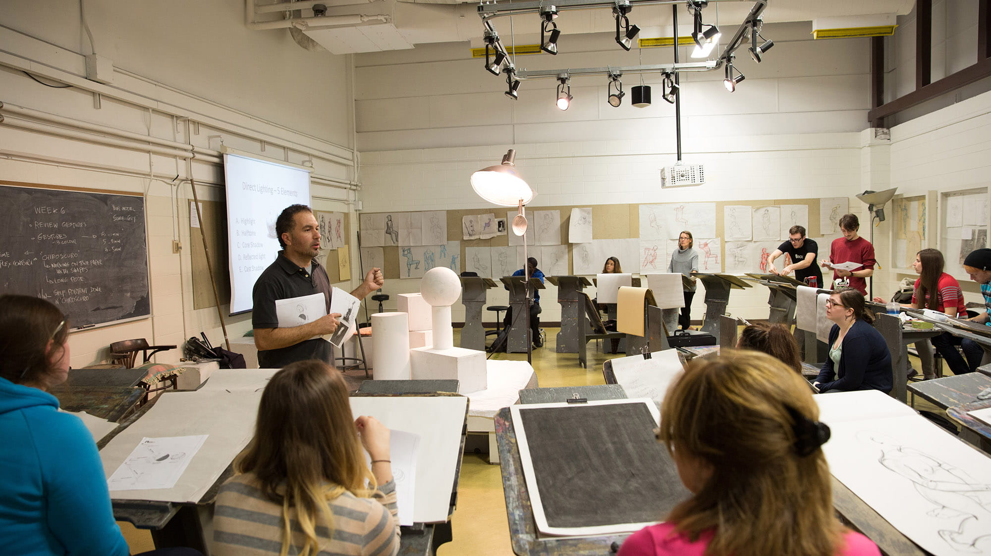 A studio filled with students working on large sheets of paper on easels