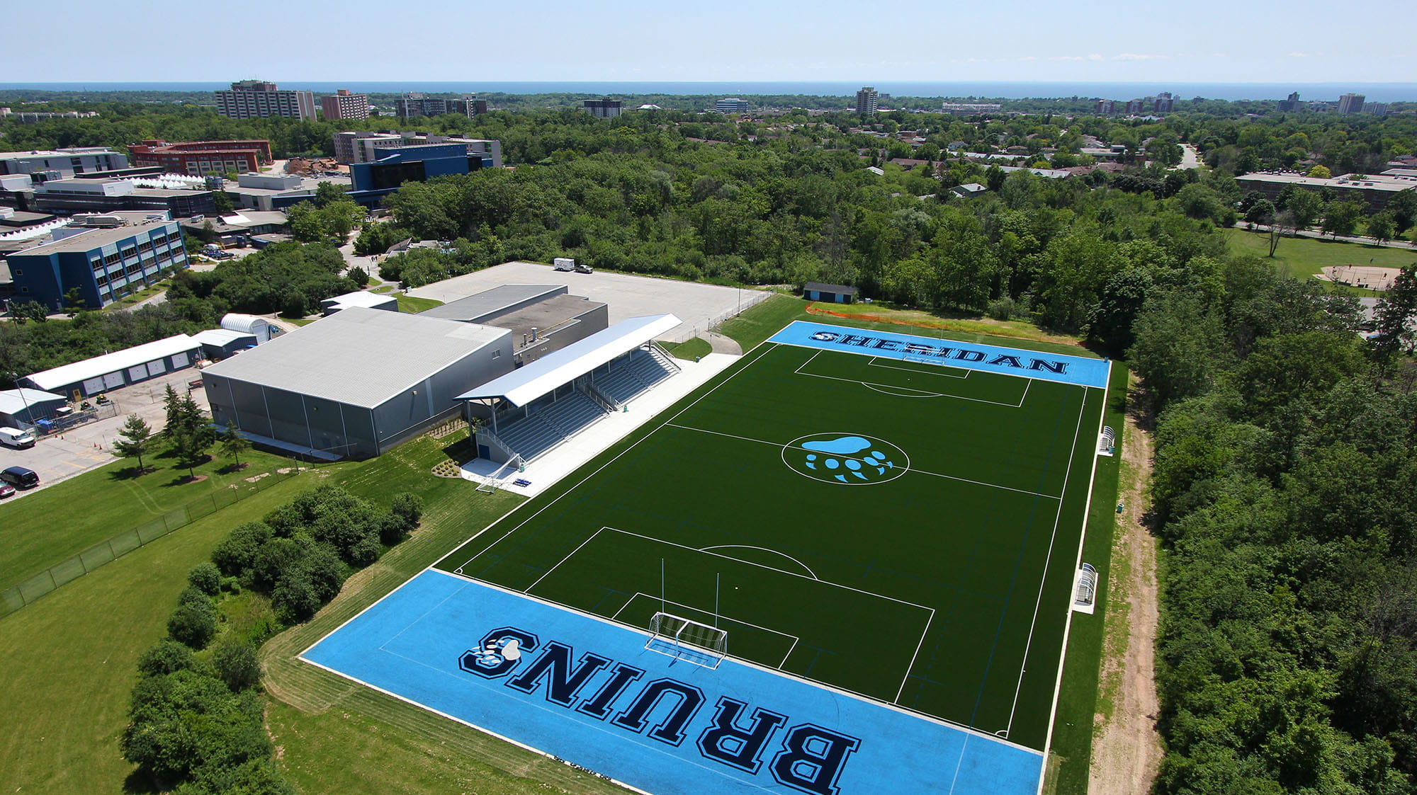 An aerial view of the Bruins' sports field and athletic centre