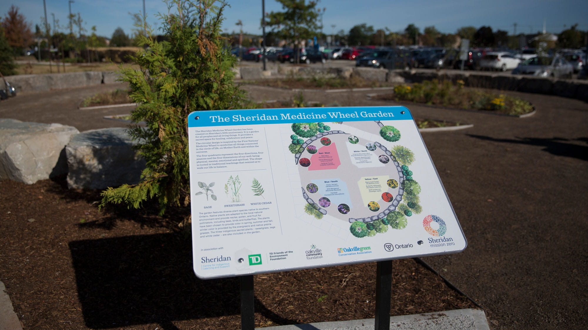 A sign in front of the Medicine Wheel Garden at Sheridan's Trafalgar Campus, with information about the garden