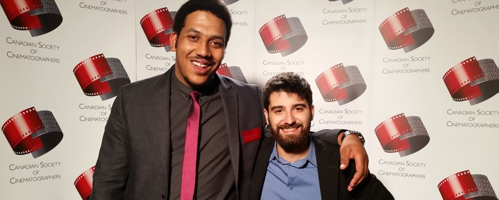 Diego Guijarro Alvarez, right, winner of the 2016 Student Cinematography Award from the Canadian Society of Cinematographers, with fellow 2015 Media Arts graduate and nominee, Keenan Lynch, left.
