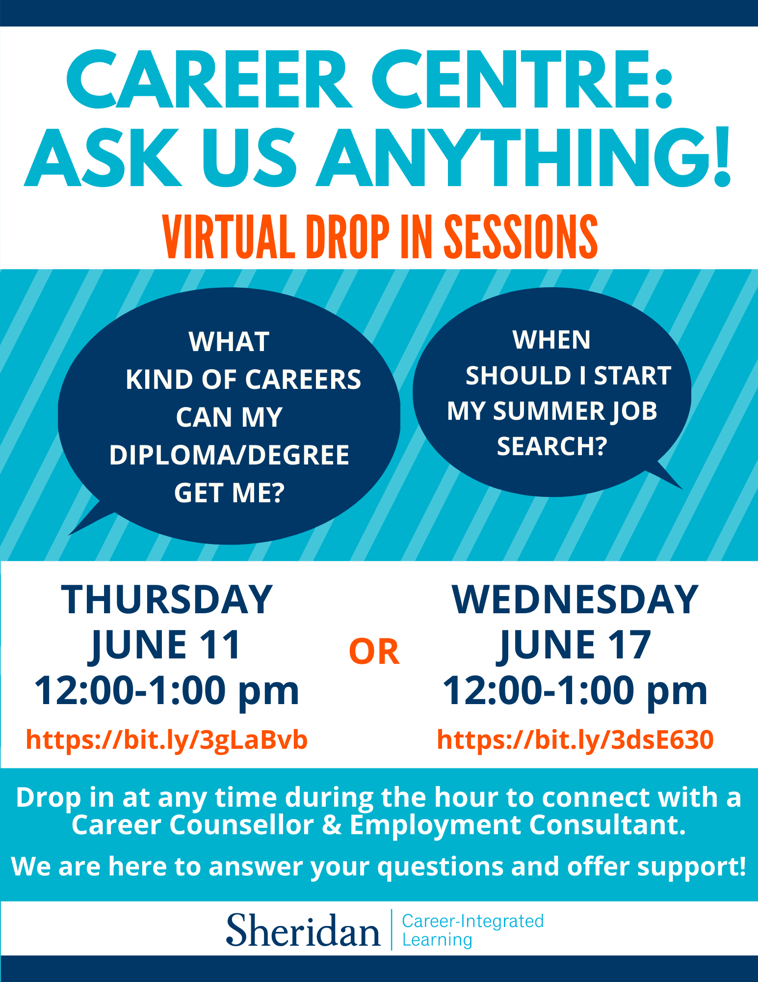 Career Centre Ask us Anything sessions poster