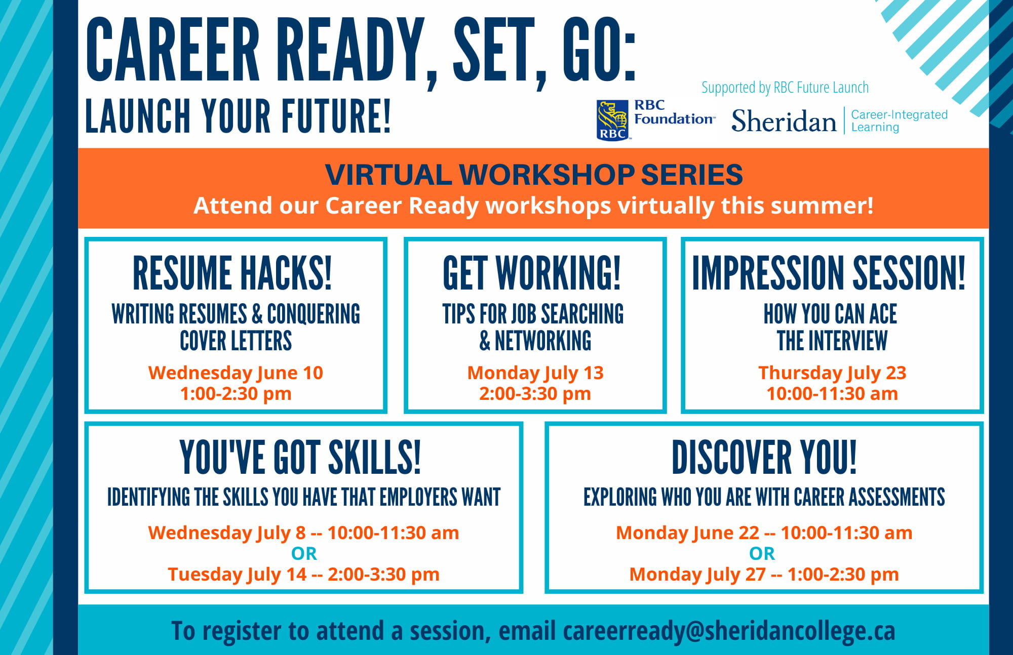 Details of Career Centre's Ready, Set, Go sessions