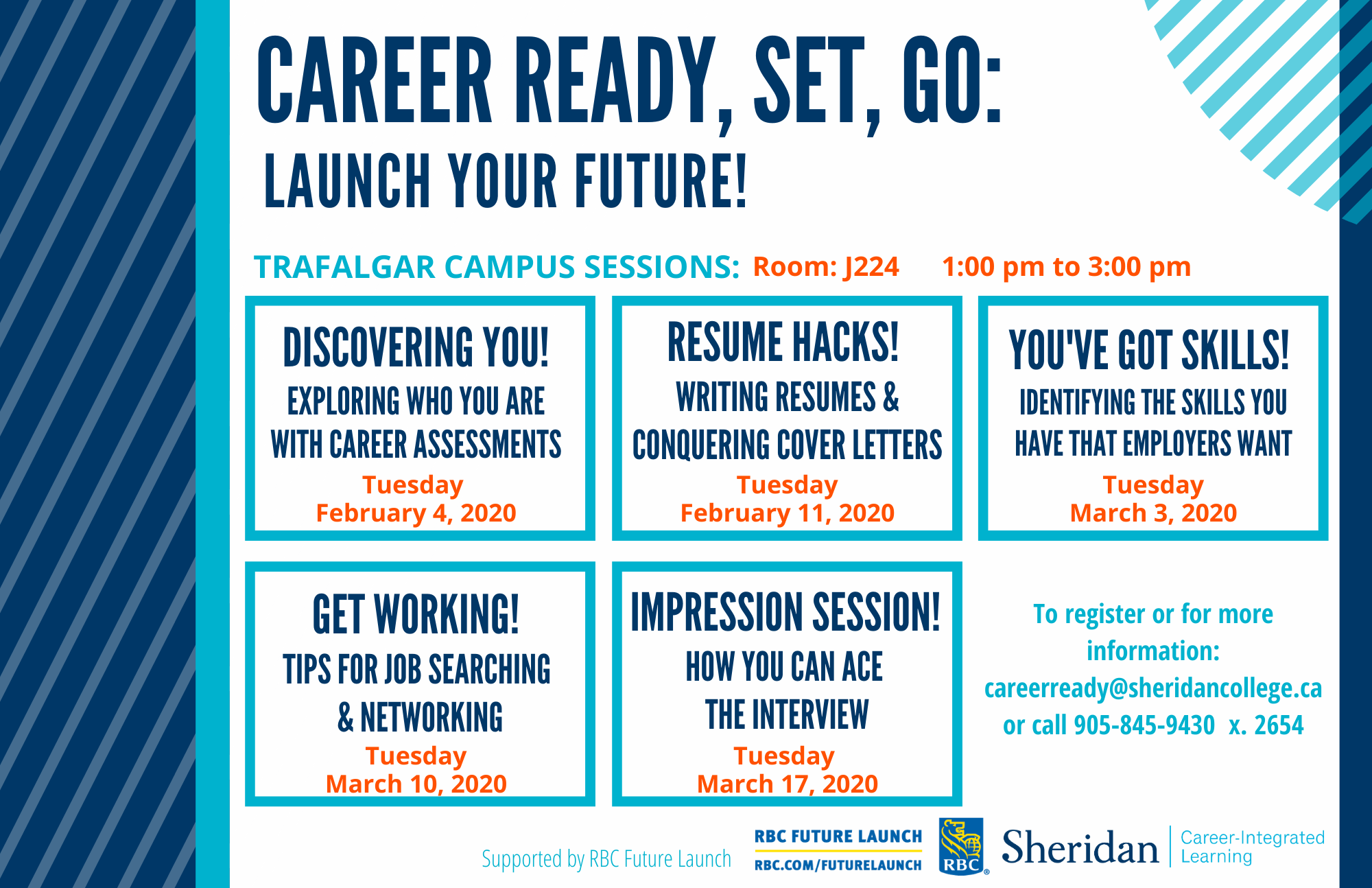 Career Ready infographic with information about career-related workshops at Trafalgar Campus