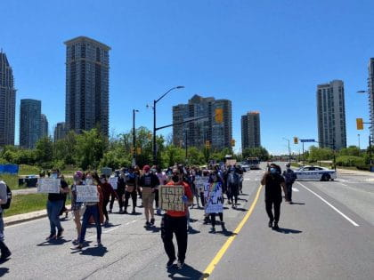 Attendees at the anti-Black racism solidarity march organized by Sheridan students in Mississauga