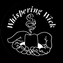 Whispering Wick text with two handles holding a burning candle