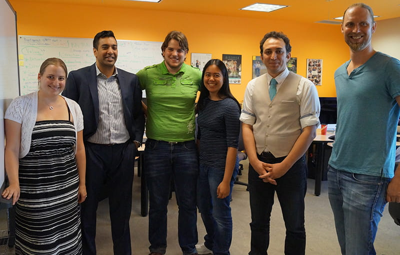 The Chumbuggy team (left to right): Lia Tsotsos (Sheridan Centre for Elder Research), Neel Desai (Co-founder of Chumbuggy.com), Kevin Lee (student), Krysta Salera (student), Pejman Salehi (Coordinator of the School of Applied Computing), and Ben Hofstede (student)