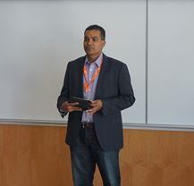 Roger Singh, Chief Technology Officer of Scalar Decisions, speaking at Sheridan's Cyber Security Symposium