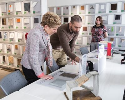 Premier Kathleen Wynne learning about our Architecture, Interior Design and Interior Decorating students' projects in our Material ConneXions Library