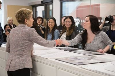 Premier Kathleen Wynne learns about the exciting projects our Interior Design, Interior Decorating and Architecture students are working on.