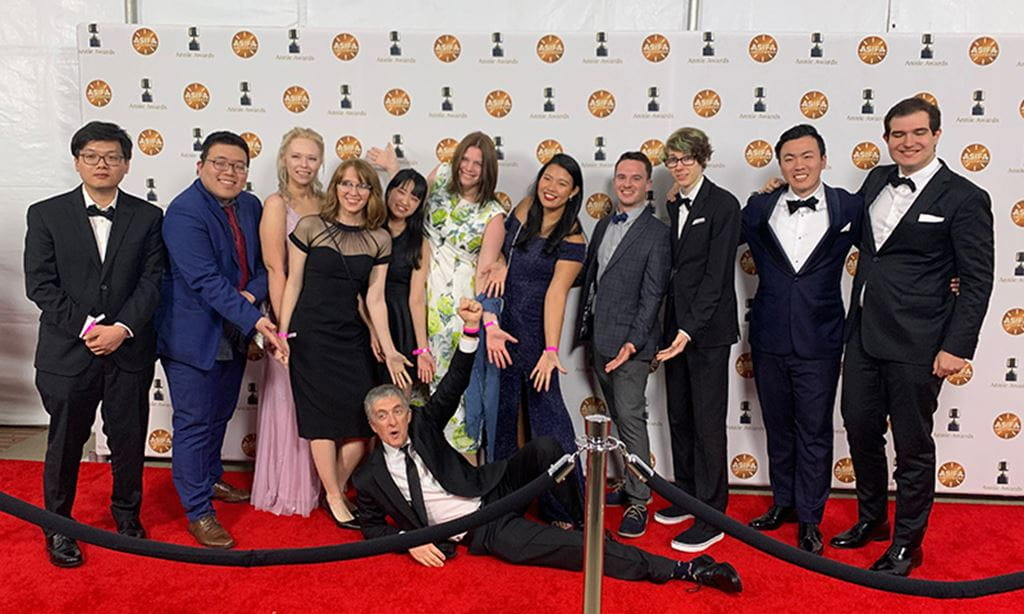 Students and professor Steven Barnes on the red carpet at the Annie Awards in LA