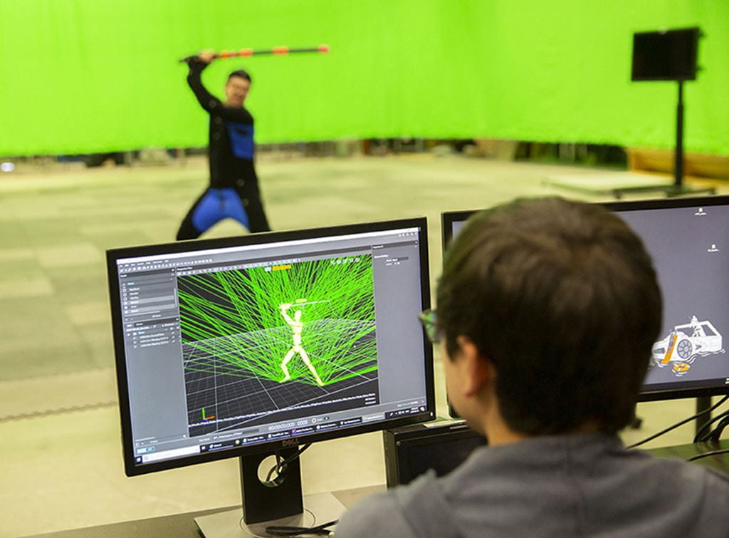 A motion capture actor's performance is used to create a virtual human