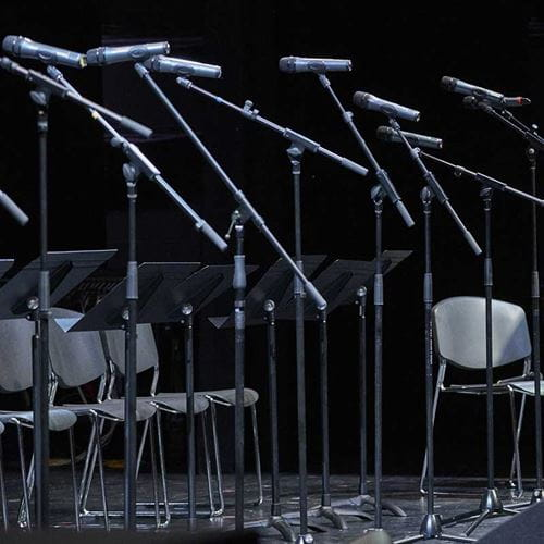 music stands and mics