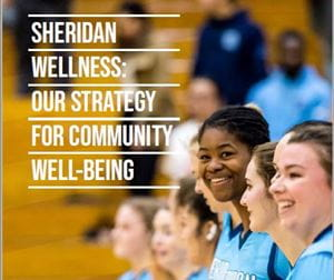 Picture of Sheridan Bruins volleyball players with text reading: Wellness: Our Strategy for Community Well-Being