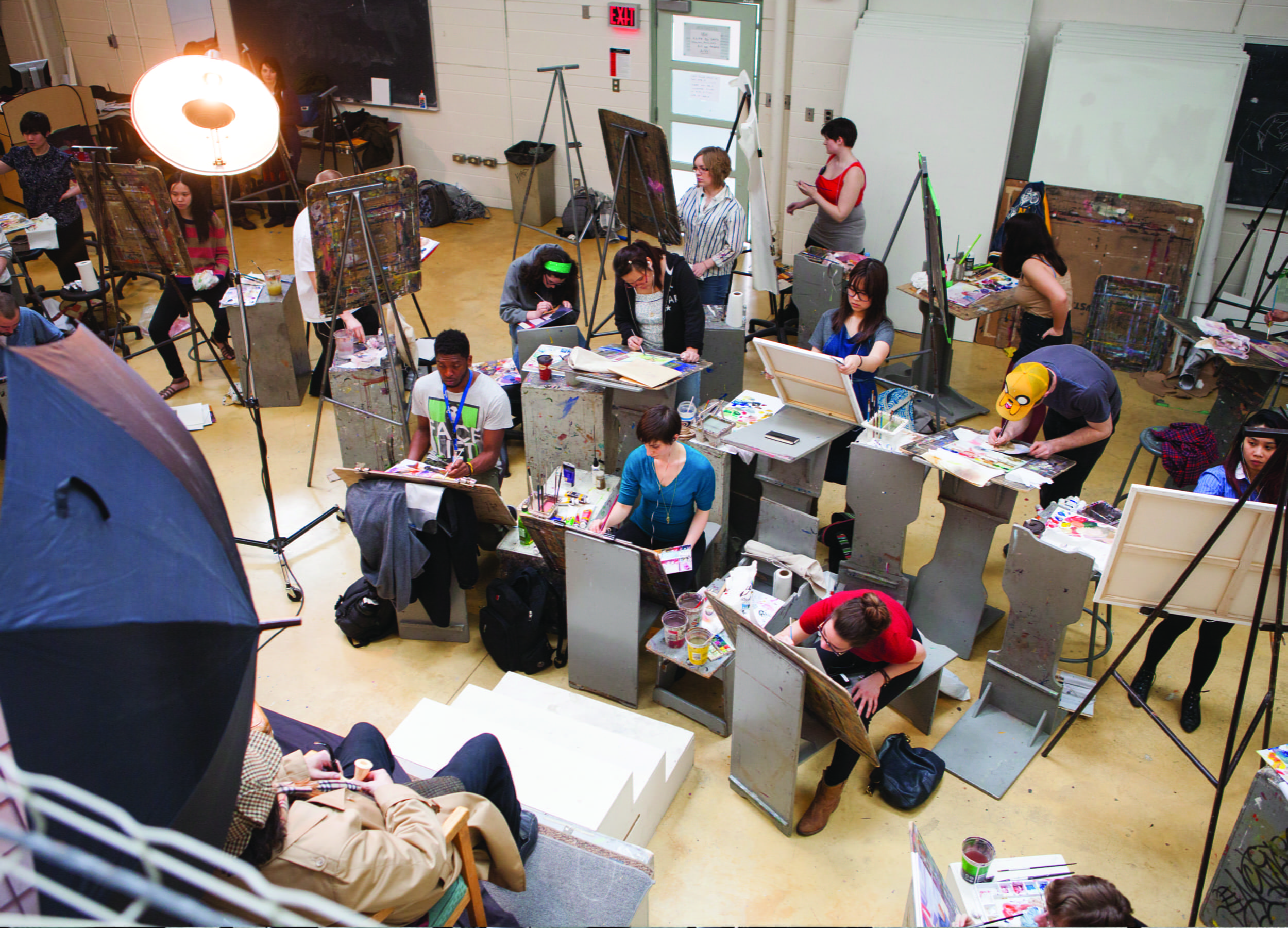 Illustration students working in a studio