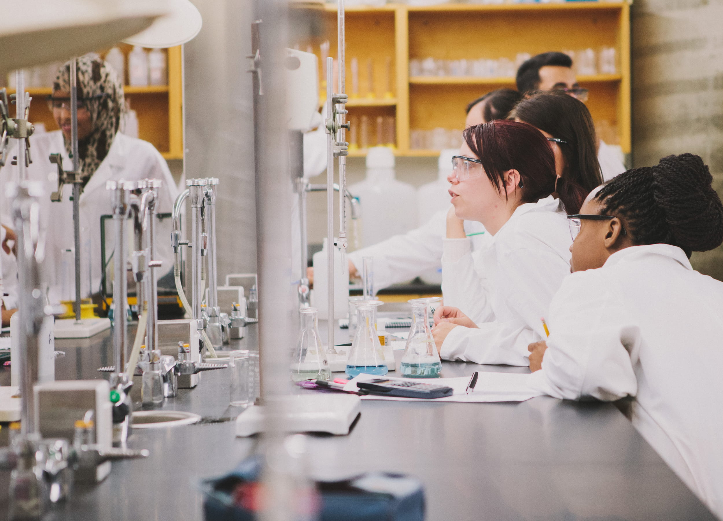 Chemical engineering students in a laboratory