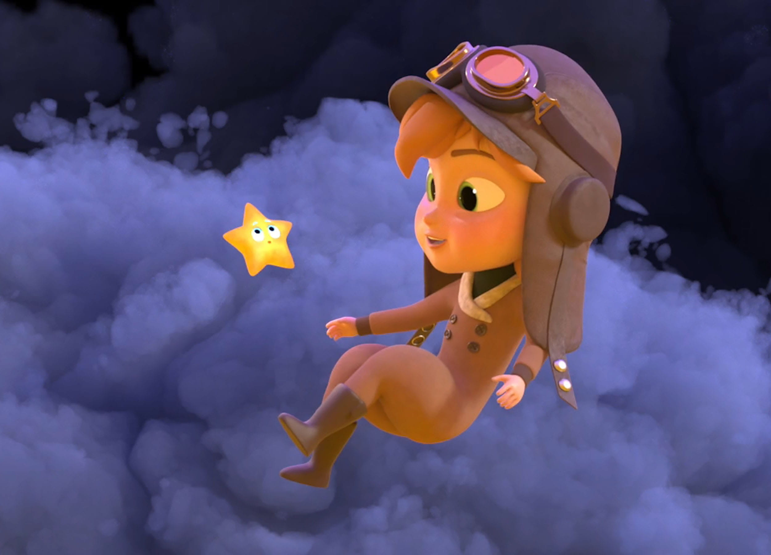 Computer-animated scene: a young girl wearing a pilot's hat and goggles on her head, floating in the clouds and looking at a star that's right in front of her.