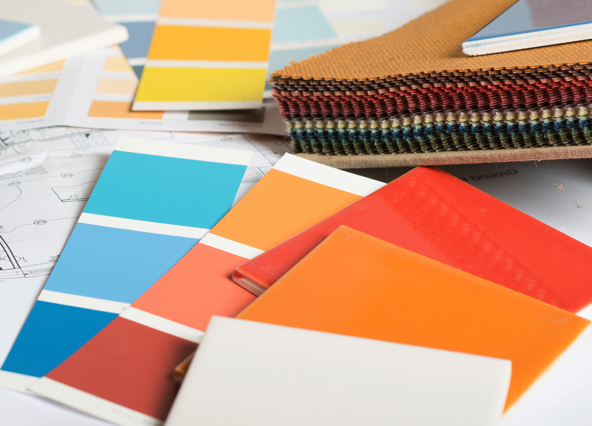 Interior decorating paint samples and tiles
