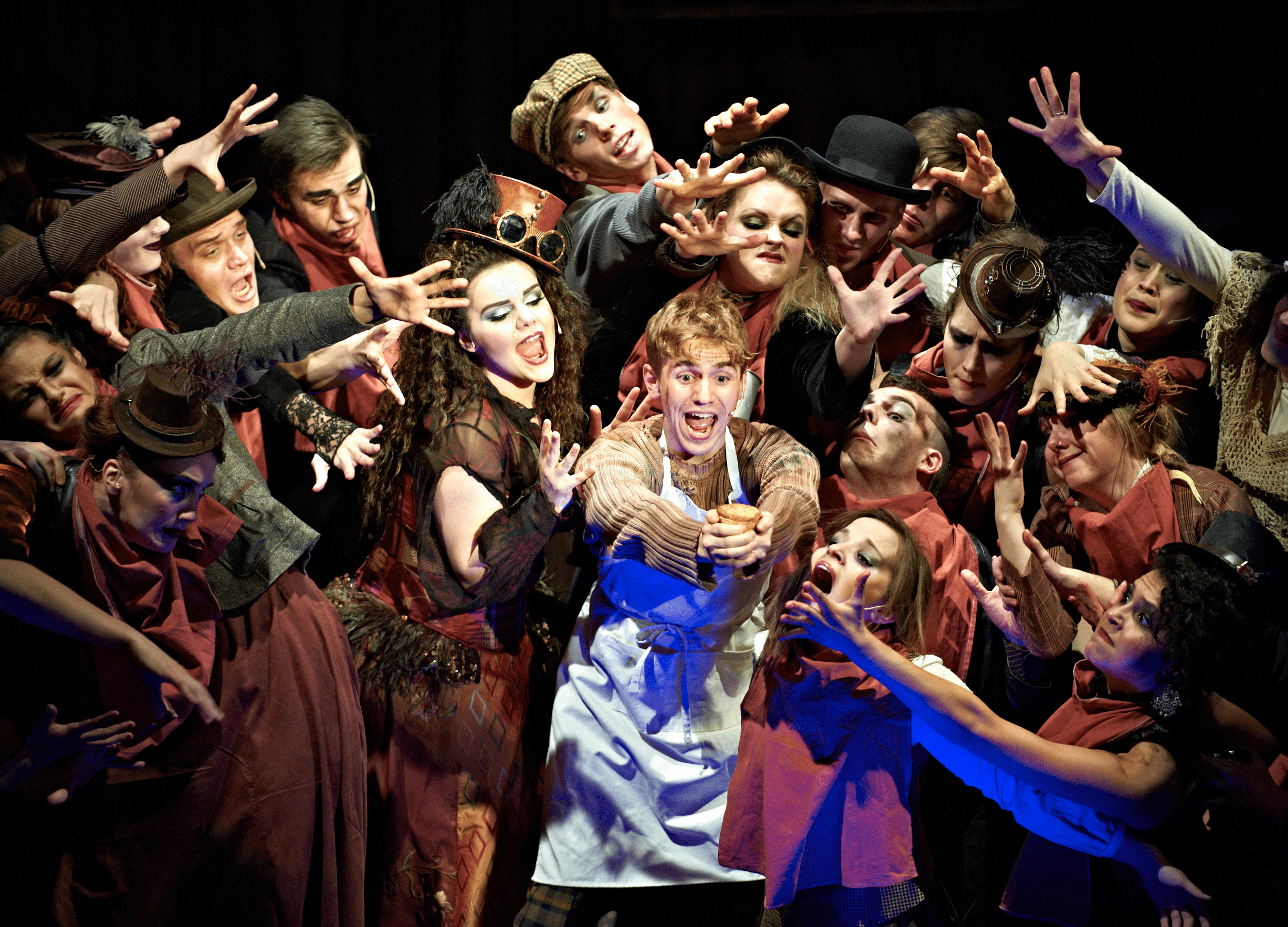 A group of Performing Arts students in a theatrical production