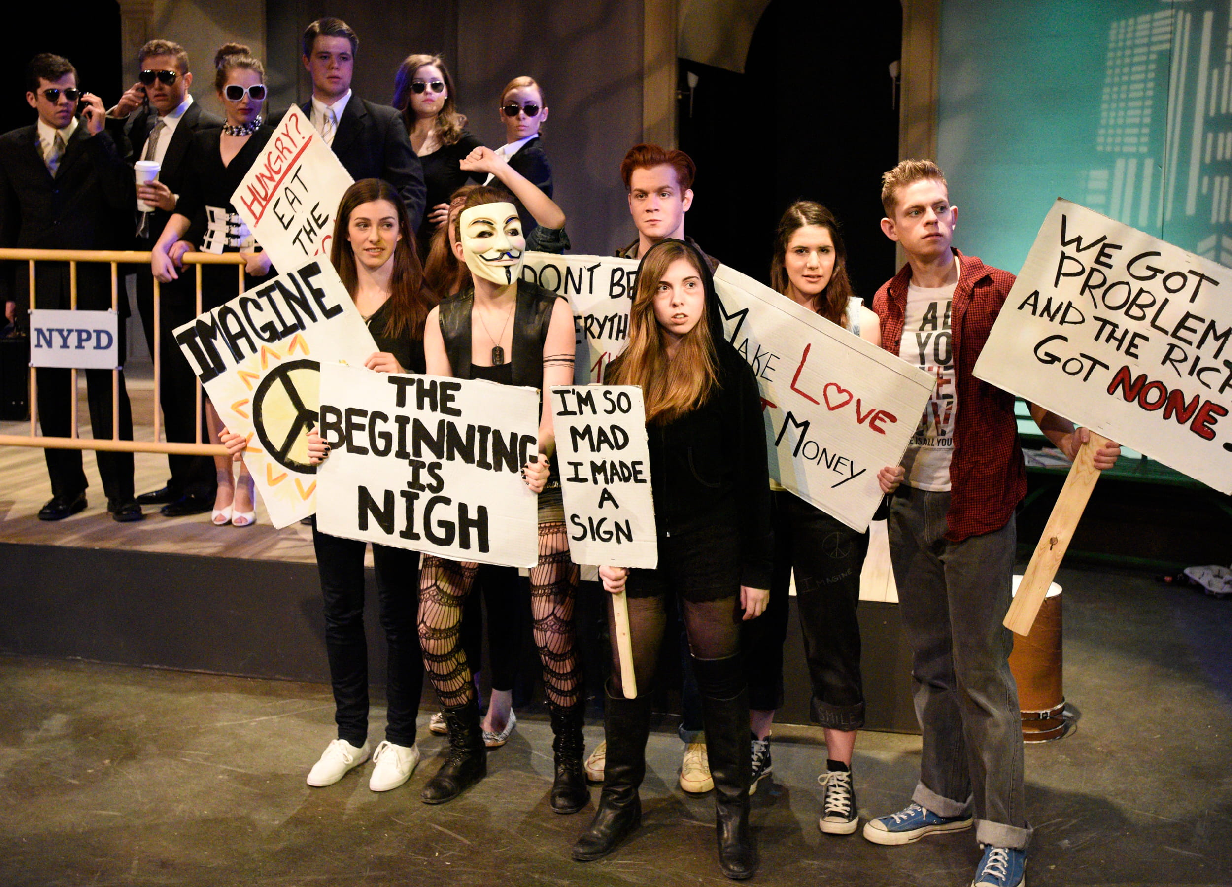 Theatre drama studies students on stage