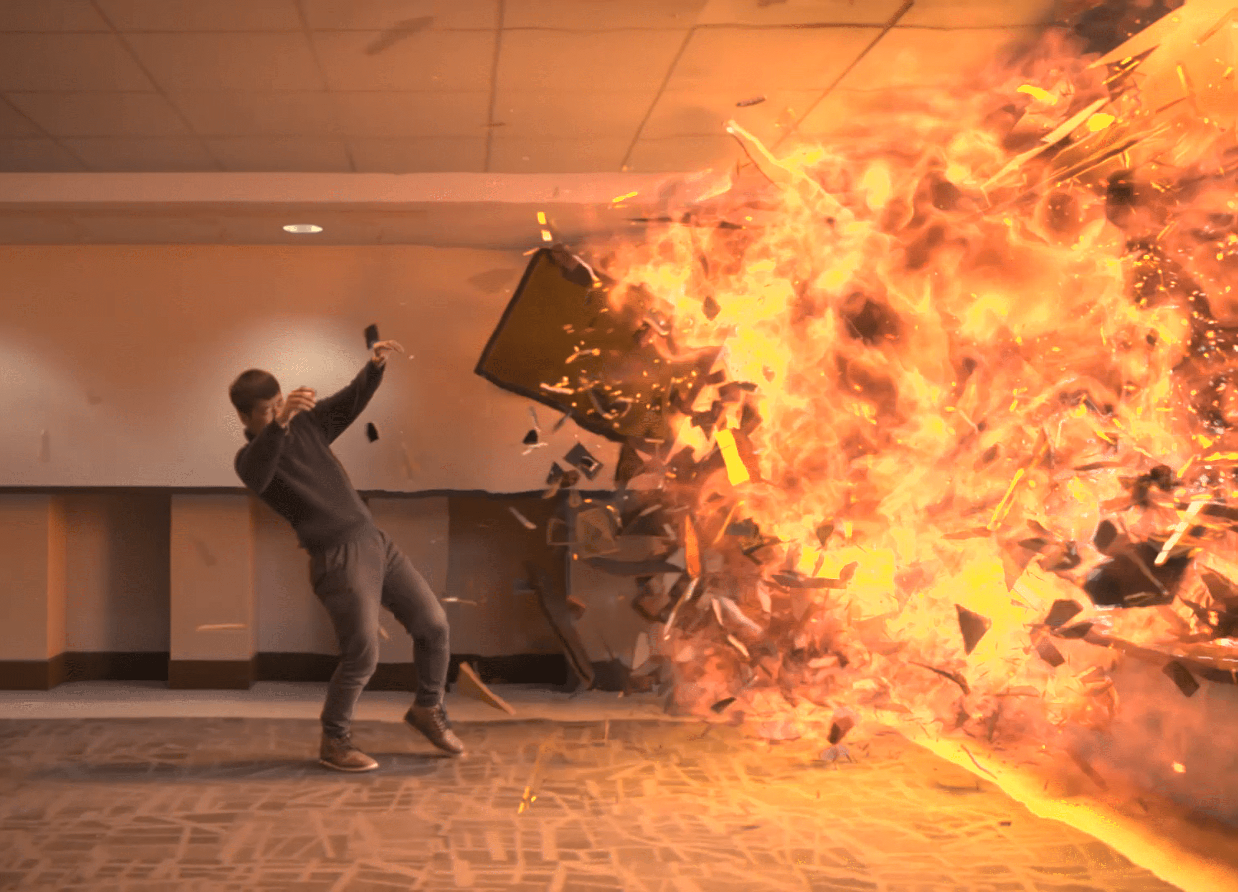 Visual effects animation of a man being thrown backwards from a fiery explosion
